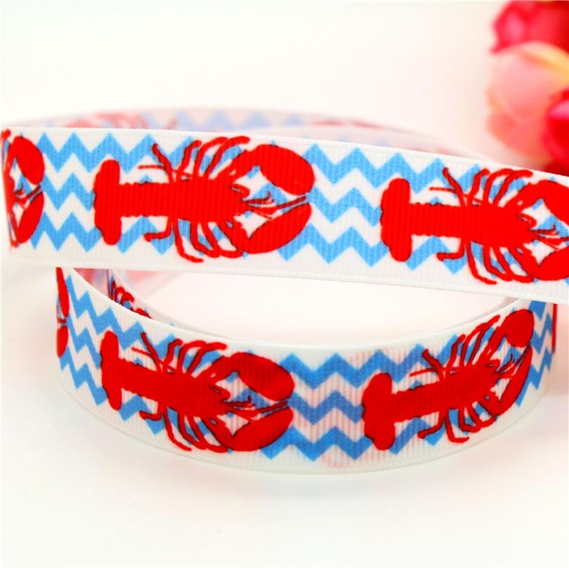 DHK 7/8 envío gratis langosta chevron impreso grogrén cinta pelo lazo diy fiesta decoración OEM 22mm B1454
