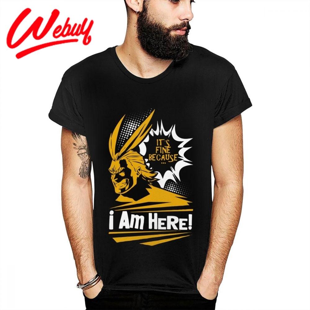 Cuello redondo My Hero Academia All Might Cartoon camiseta para hombre de moda Homme camiseta I am here camiseta Casual nueva llegada