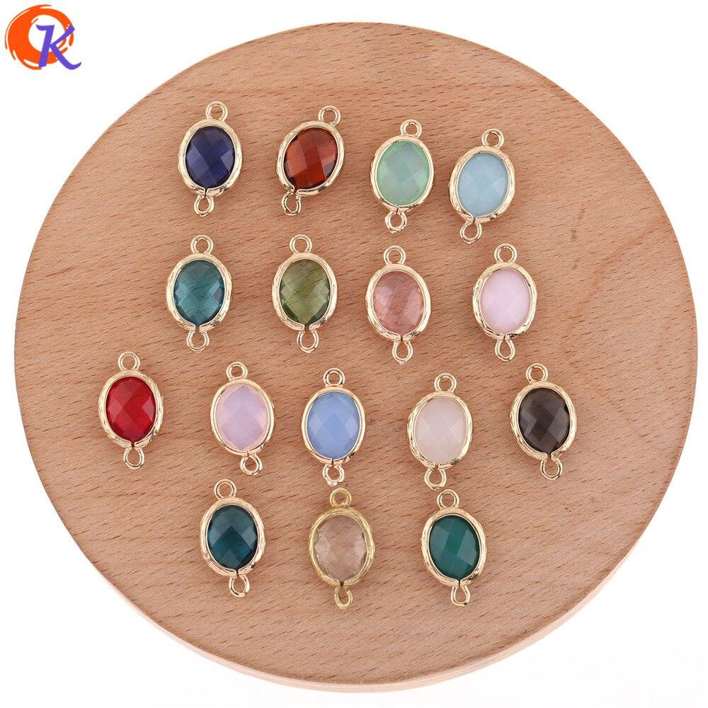 50 piezas de accesorios de joyería de 10*18MM de diseño Cordial/conectores de cristal/Fabricación de pendientes DIY/abalorios de joyería/hechos a mano/hallazgos de pendientes