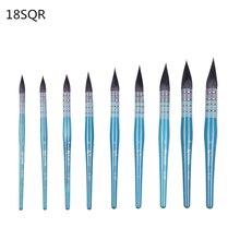 18SQR ronde haute qualité fil de cheveux décureuil torsadé manche en bois aquarelle pinceaux Art fournitures artiste brosse