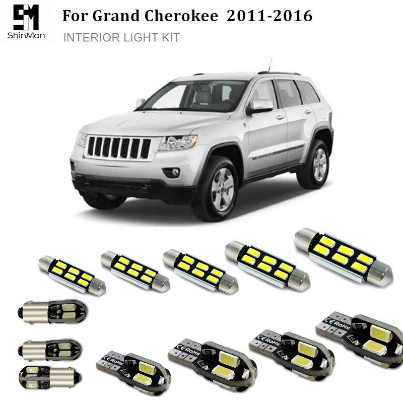 Kit de luces interiores de coche Shinman 14 Uds ErrorFree bombillas LED de coche lámparas de lectura para Jeep Grand Cherokee accesorios 2010-2016