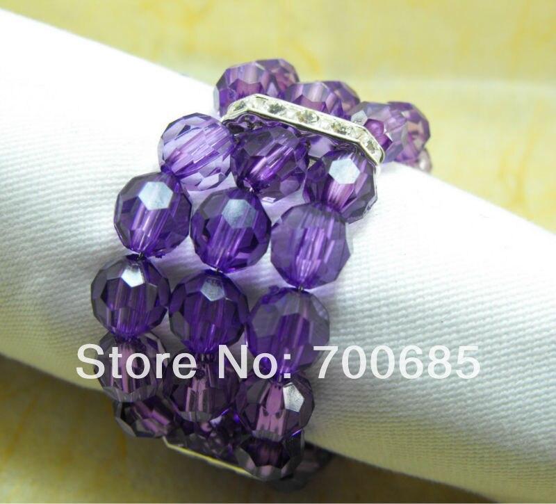 dark purple crystal  beads napkin ring, napkin holder,