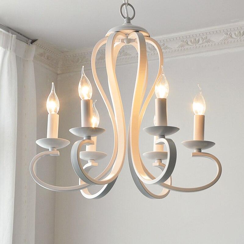 Vela moderna iluminação lustre nordic americano estilo coutry luminárias vintage branco/preto ferro forjado iluminação para casa e14