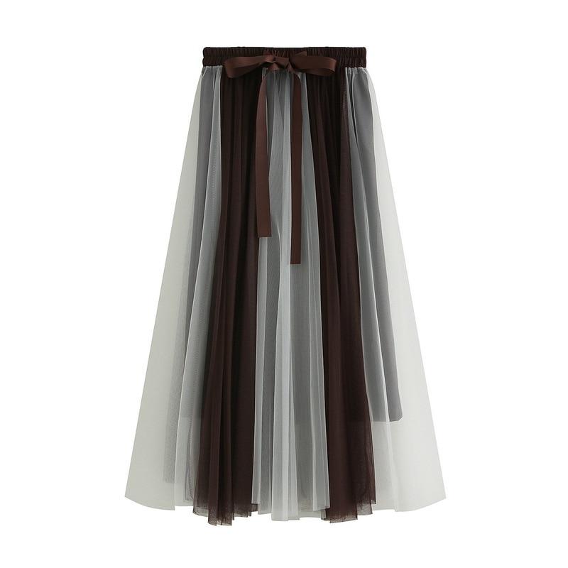 Falda de Hada de gasa Faldas de mujer elegantes primavera 2019 alta cintura adelgazamiento largo plisado falda de Patchwork Midi falda Saias Faldas Jupe