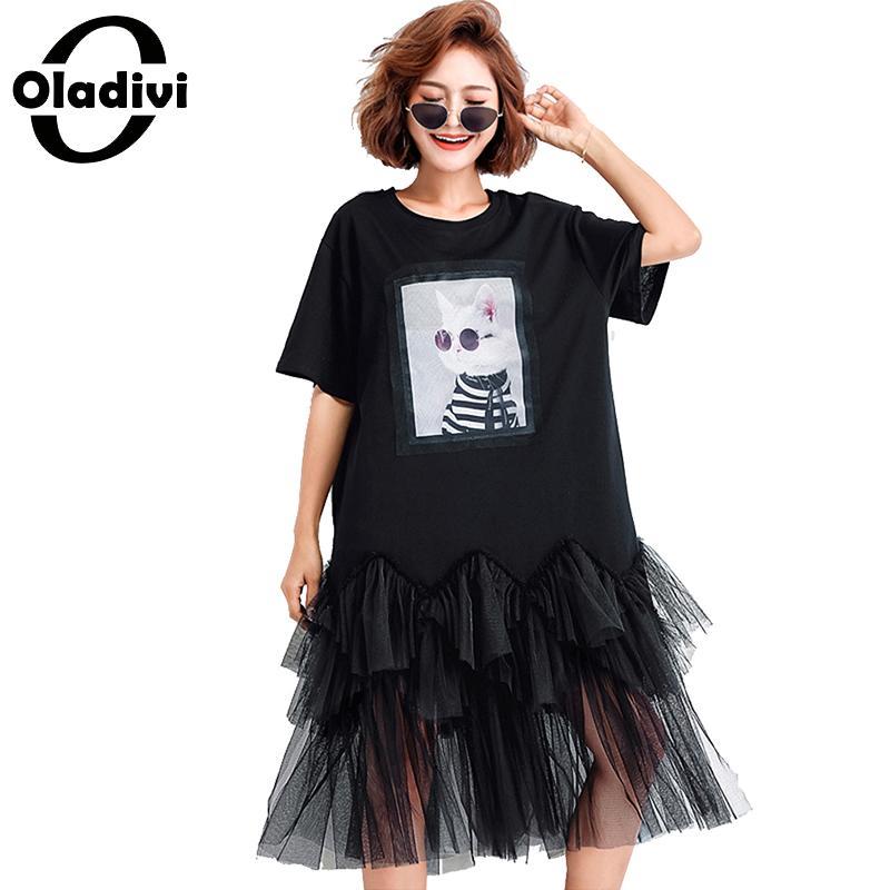 Oladivi de gran tamaño de las mujeres ropa de estampado de moda camisa de malla vestido de verano de Midi, Vestidos Camiseta holgada Casual camisetas tipo túnica Vestidos