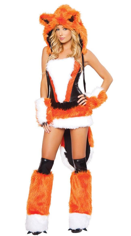 Mulheres Traje Sexy Fox da Pele Do Falso Corset Skirt Set Animais Raposa Sexy Cosplay Fancy Dress