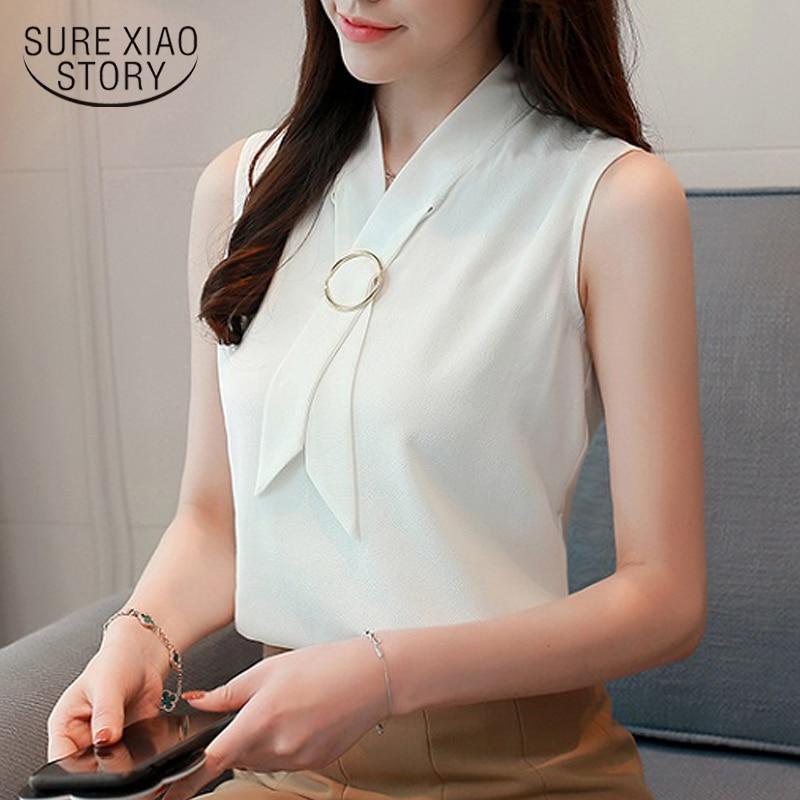 Novo 2018 verão sólido casual moda feminina blusas sem mangas elegante chiffon superior colete coreano macio feminino roupas 0234 40