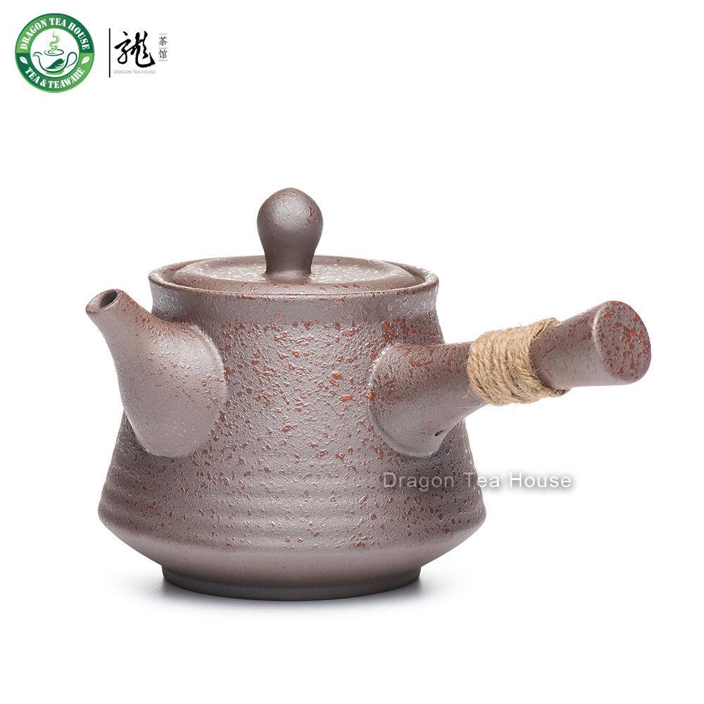 Tetera de cerámica de estilo japonés Kyusu con mango lateral marrón con filtro incorporado de 270ml