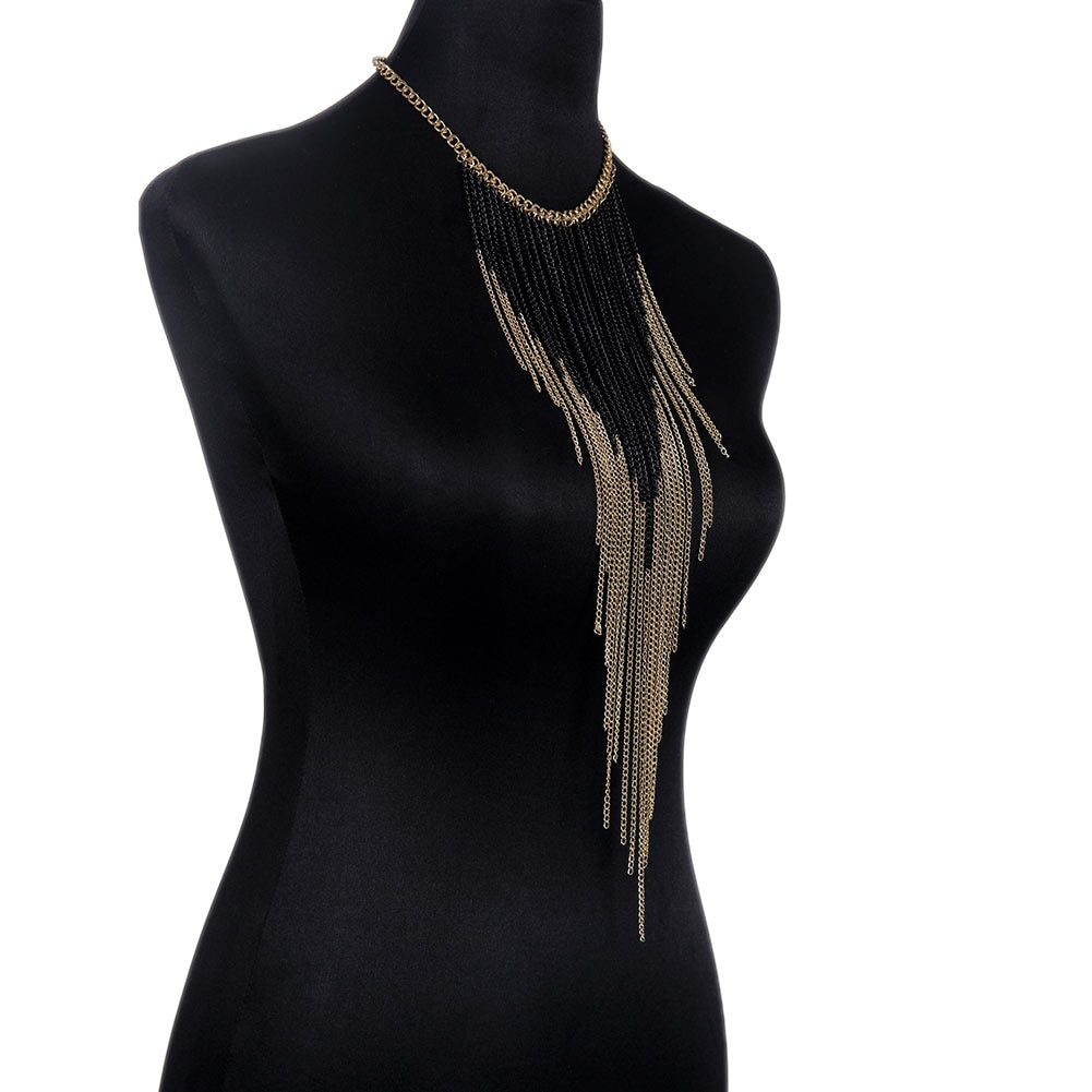 Moda de lujo Sexy cuerpo vientre negro tono en Color oro cuerpo cadena sujetador esclavo arnés collar borla cintura joyería HSJ88