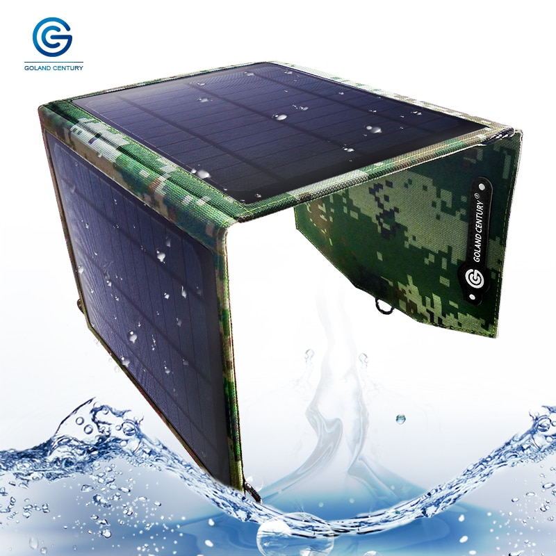 Panel Solar plegable y portátil Goland Century, cargador Solar de 5 V, 10 W, 15 W, 20 W, USB, impermeable, bolsa de cargador a prueba de polvo para exteriores