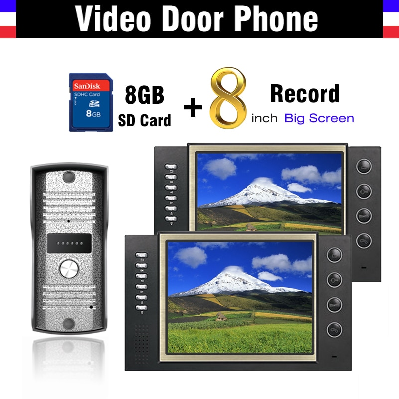 Pantalla LCD de 8 pulgadas para grabación de vídeo, intercomunicador para teléfono y puerta, intercomunicador para videoportero + Tarjeta de 8G para grabar vídeo