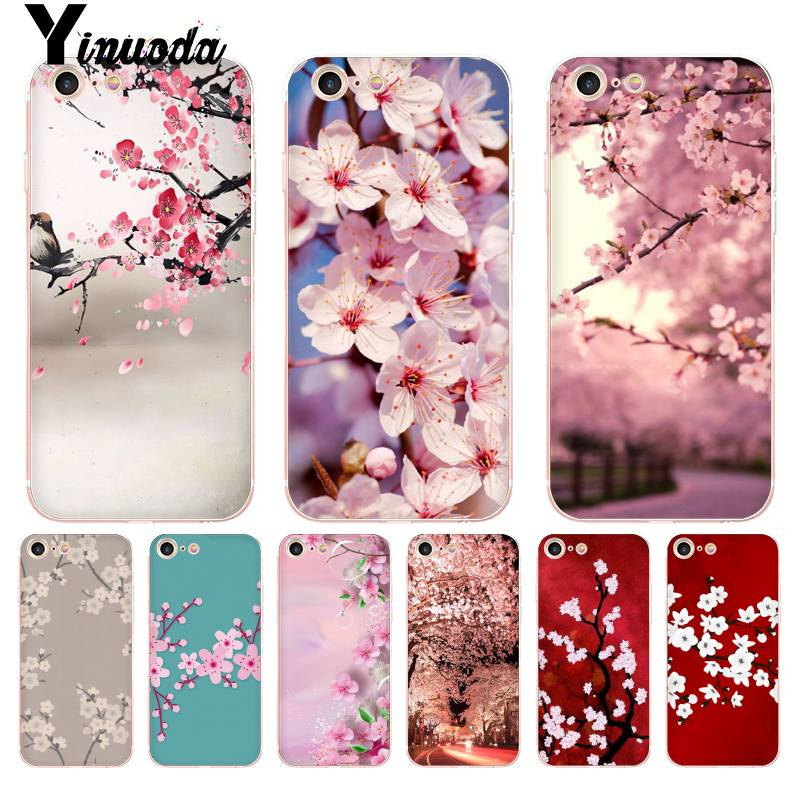 Funda transparente Yinuoda para iPhone 7 6 X estilo japonés con flores de cerezo para iPhone 8 7 6 6S Plus X 10 5 5S XS XR
