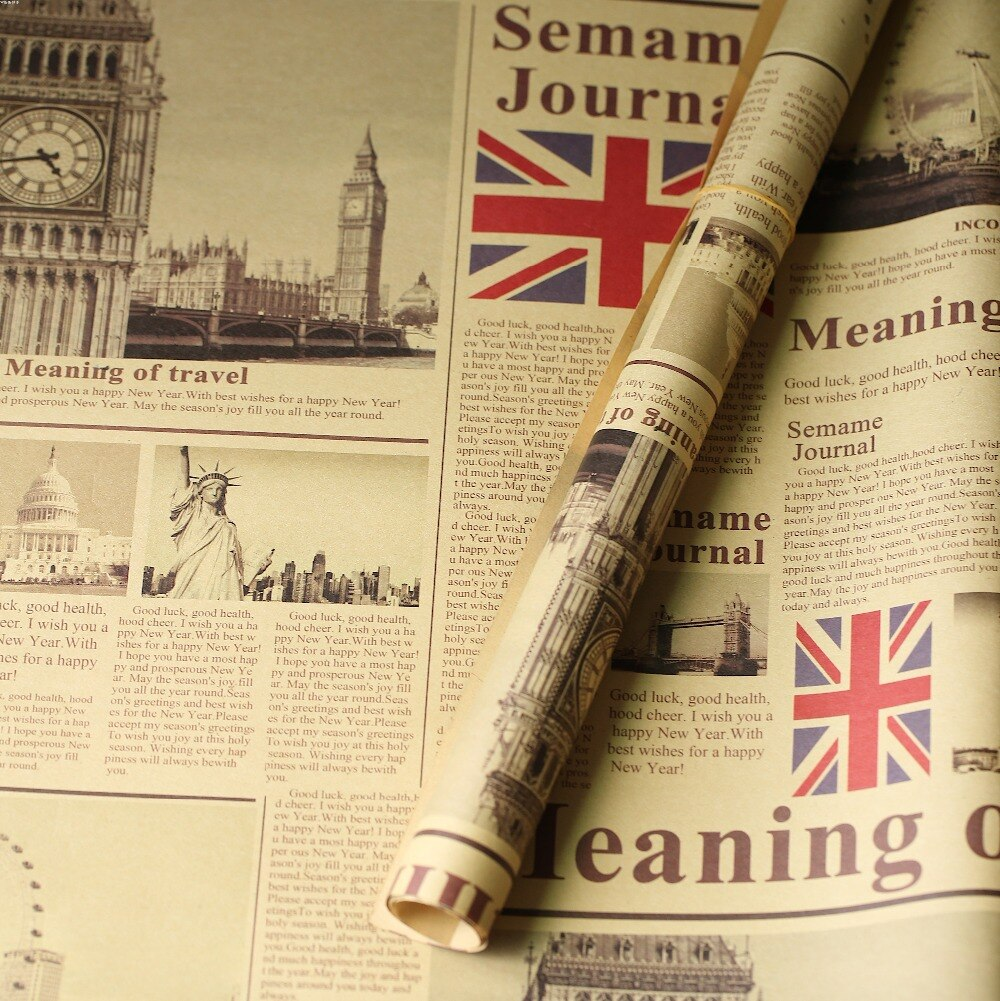 De 50x70cm de grosor, estilo retro europeo nostálgico del antiguo periódico inglés, accesorios para fotos, adornos, estera de fondo para fotografía de comida