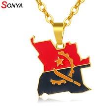 SONYA Angola carte et drapeau collier pour femmes/hommes couleur or pendentif africain Bijoux angolais pays cartes Bijoux Femme
