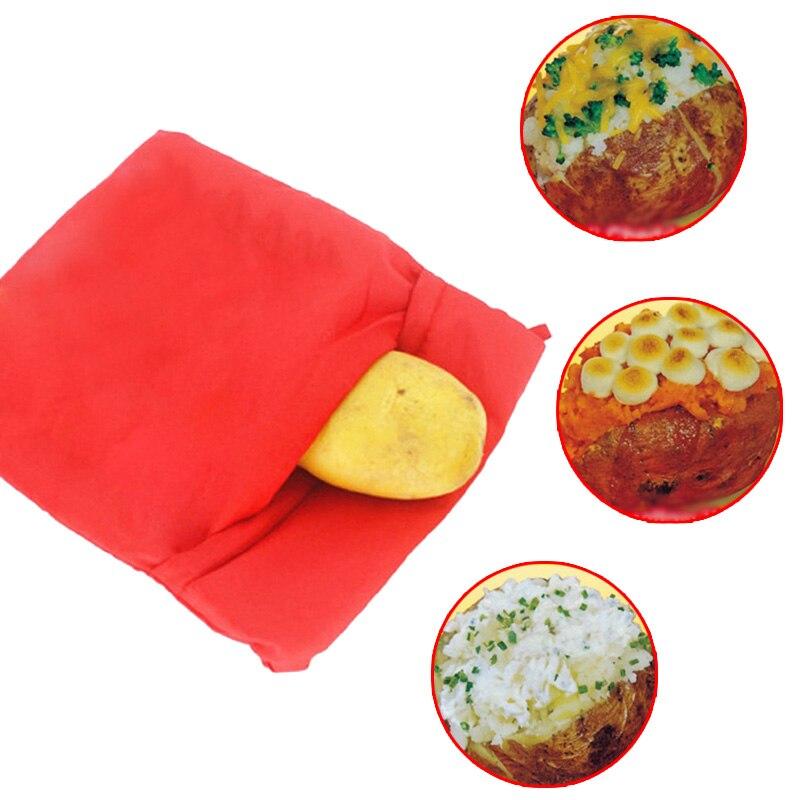 Rojo lavable patatas Corns pan microondas cocina bolsa cocina Gadget Cocina
