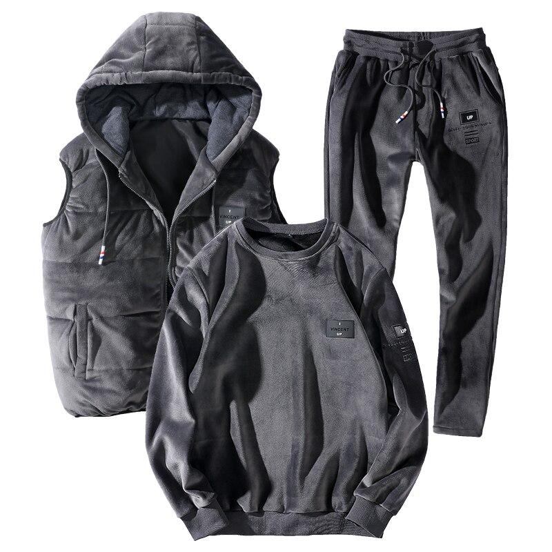 Traje de deporte de abrigo 7XL 8XL para hombre, 3 unid/set, conjuntos de sudadera, ropa deportiva gruesa de invierno, novedad de 2019, traje deportivo de talla grande suelto para correr térmicamente