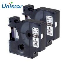 Unistar 2 pièces 43613 étiquette imprimante ruban Compatible pour DYMO D1 imprimante 43613 noir sur blanc 6mm Cassette ruban bureau autocollant D1