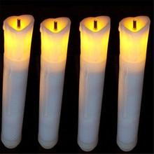 Ensemble de 12 Mini cire ivoire sans flamme   Bougies scintillantes et plongeantes en forme de ambre, pour piles de dîner non incluses