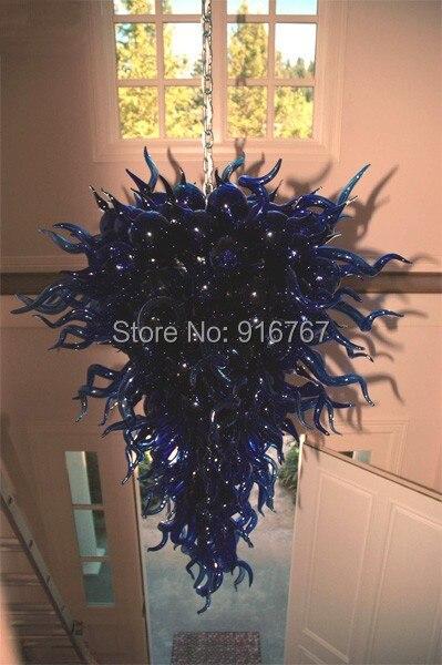 Candelabro Led moderno de cristal azul Grand de la lámpara de Dale Chihuly soplado a mano 100%