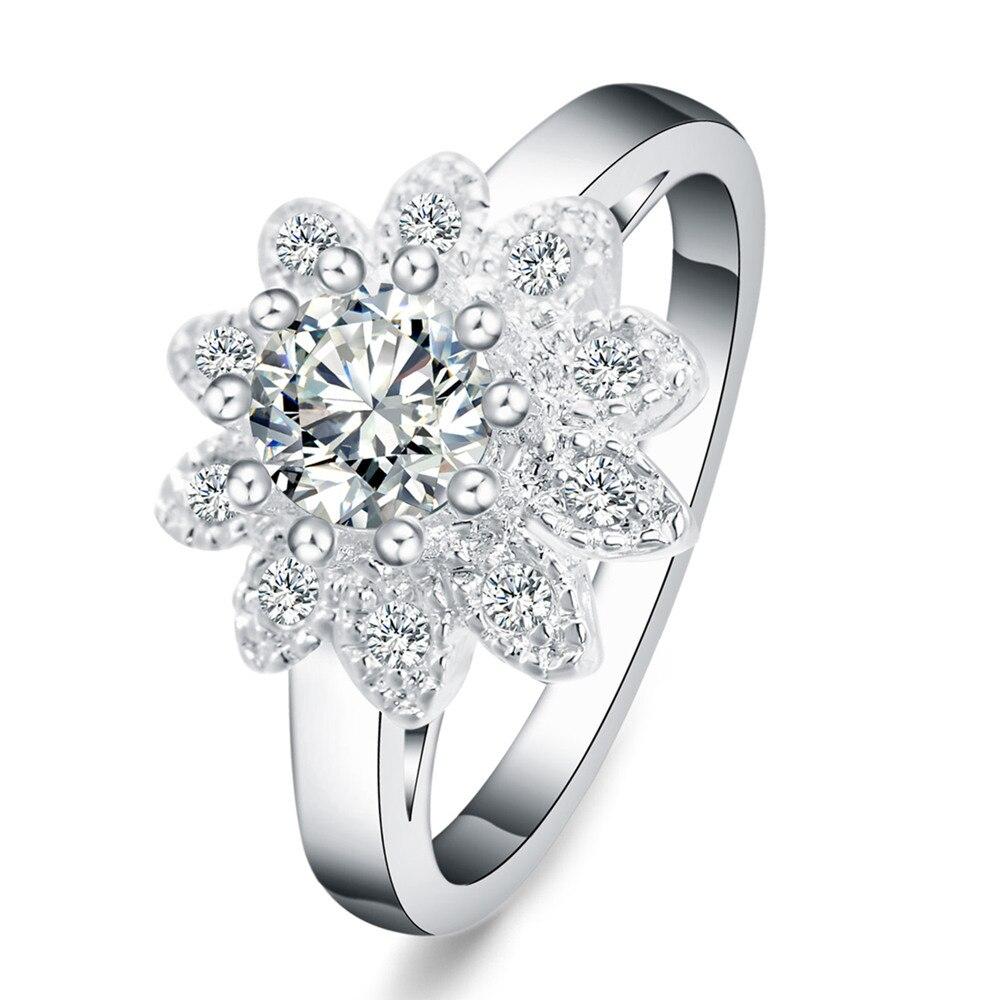 Venta al por mayor hermoso anillo cristalino de plata noble flor boda moda mujer señora anillo joyería CZ Zircon estampado,