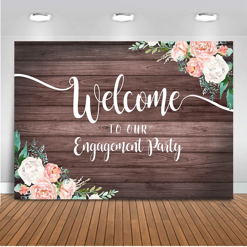Engagement Party Backdrop for Photography Welcome Sign Background for Party Decoration Banner Supplies Photography Studio Photo