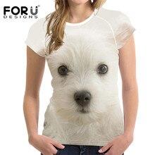 FORUDESIGNS – T-Shirt imprimé Shih Tzu pour femmes, haut décontracté et élastique, chien de base, chemises, vêtements