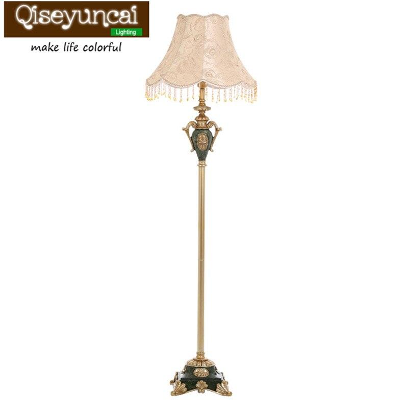 Qiseyuncai lâmpada chão da sala de estilo Europeu jardim país retro personalidade criativa quarto estudo de cabeceira lâmpadas verticais