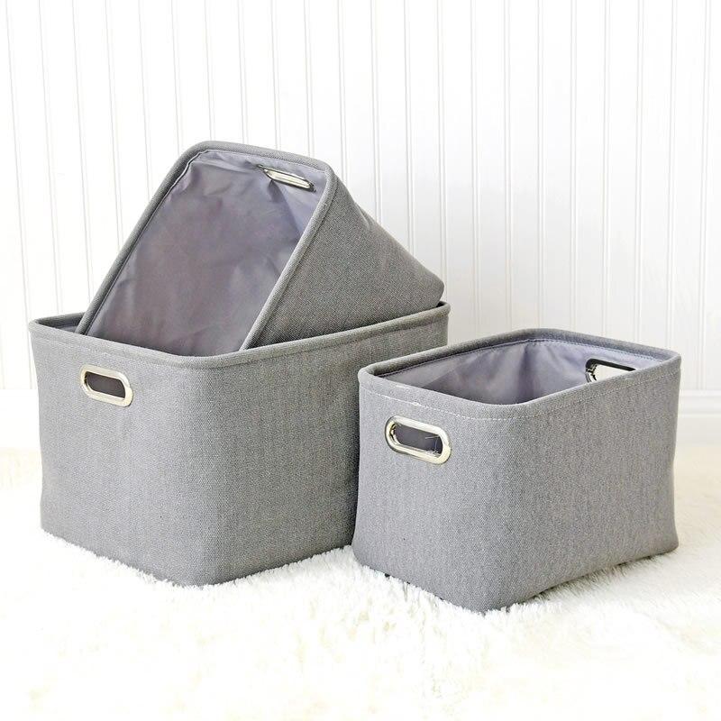Gray Large Laundry Hamper Bag Canvas Clothes Storage Baskets Home Storage washing Organization Jewelry Makeup Taketop Organizer