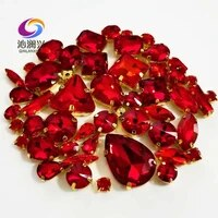 factory sales 58pcspack gold bottom red top crystal glass sew on stonesmix size claw rhinestone diyjewelry accessories