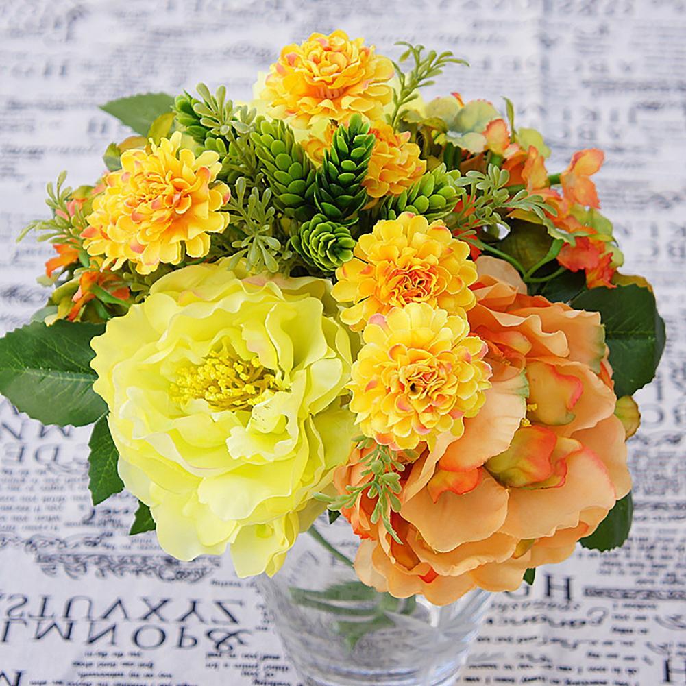 1 ramo Artificial Hortensia, peonía jardín falso planta flor DIY Decoración de casa