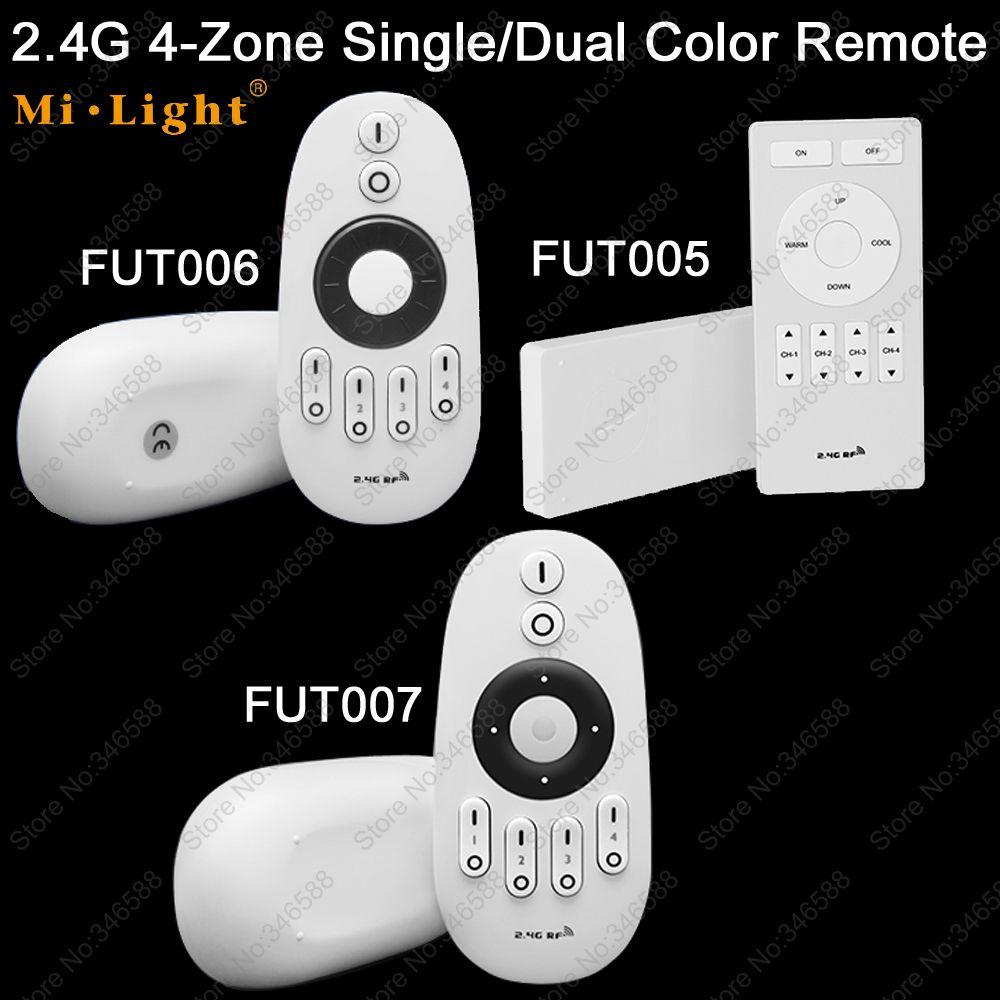 Mi.Light 2.4G RF 4-Zone Wireless Remote LED Dimmer Controller FUT005 FUT006 FUT007 for WW/CW LED Bulb / Single Color LED Strip