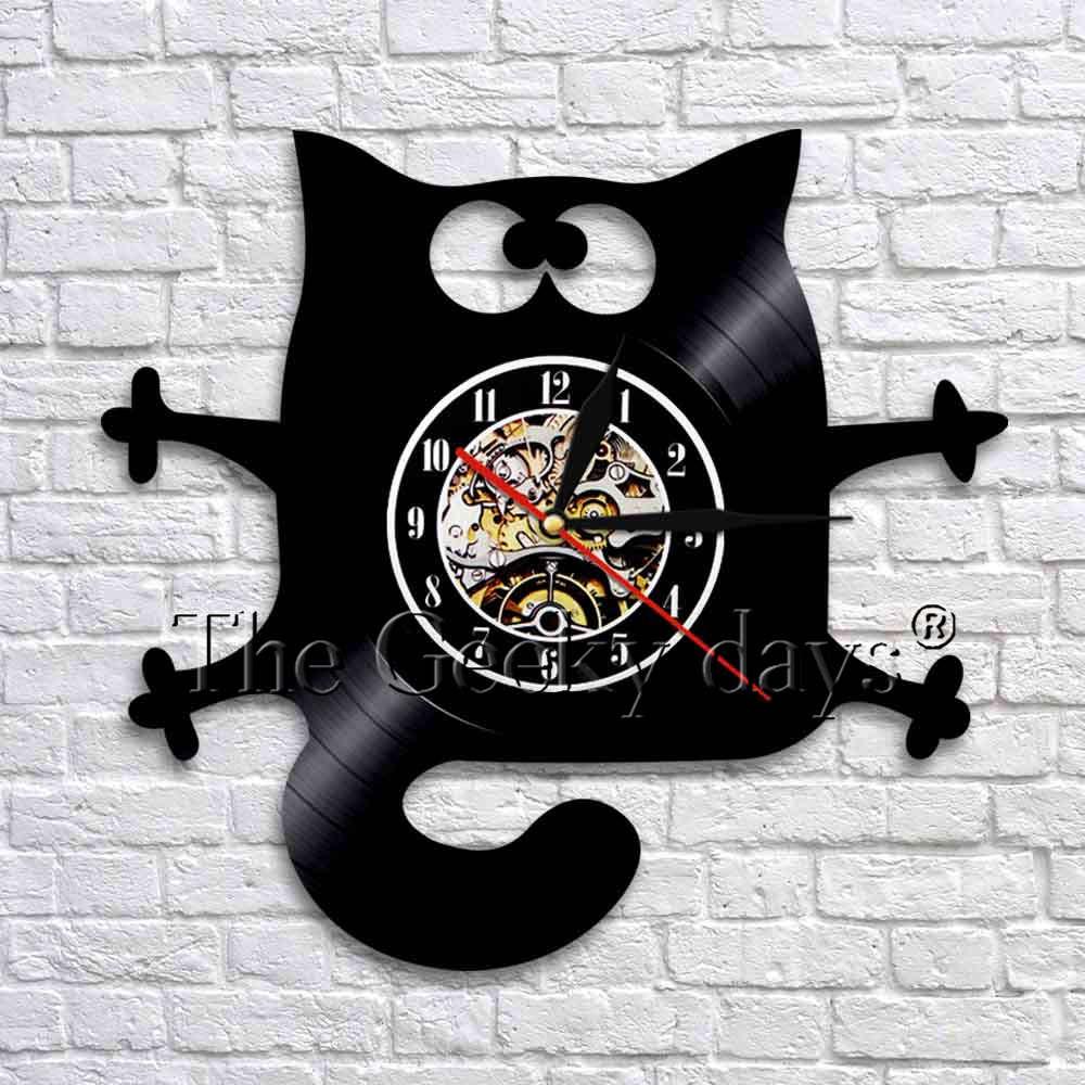 Funny Cat Design Vinyl Record Wall Clock Watches Handmade Home Wall Decor Interior Animal Art Time Clock Modern Design