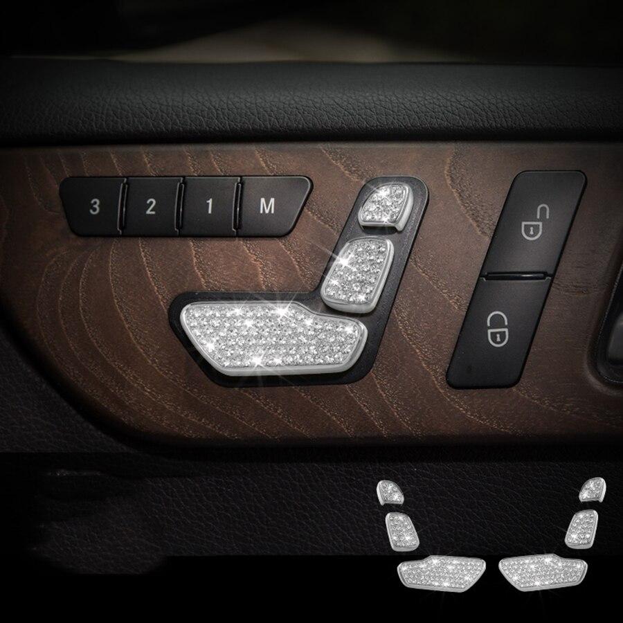 6 piezas asiento botón Trim para Mercedes Benz GLE400 GLE320 GLS450 2015, 2016, 2017 estilo de coche