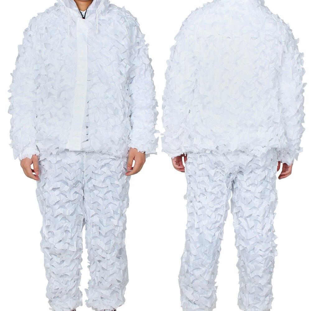 Traje Ghillie de caza de camuflaje de invierno 2019 ropa de red de camuflaje blanco nieve para deportes al aire libre entrenamiento nieve caminando caza uniforme