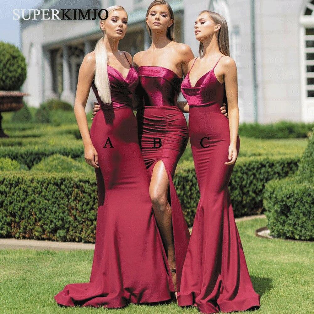 SuperKimJo vestidos De dama De honor color Burdeos largo 2020 mal emparejado...