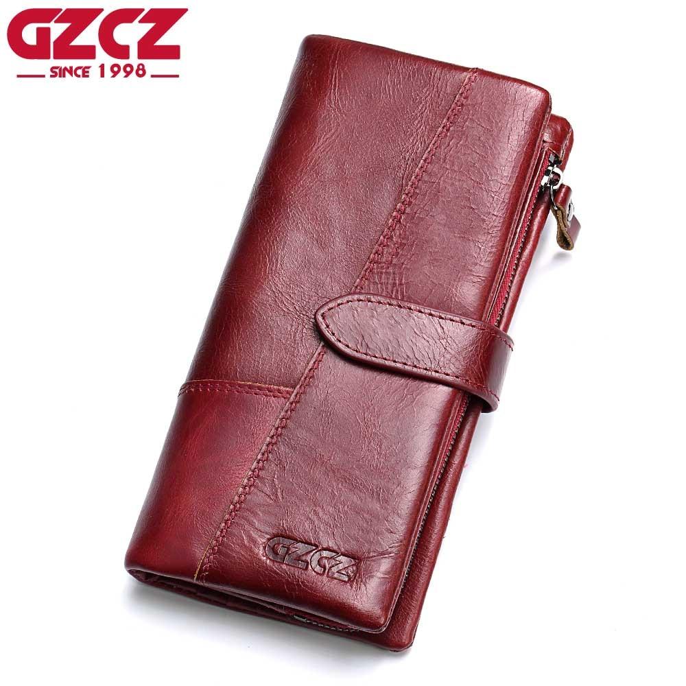 GZCZ-محفظة نسائية طويلة من الجلد الطبيعي مع قفل Rfid ، ومحفظة ، وجيب سهل الاستخدام
