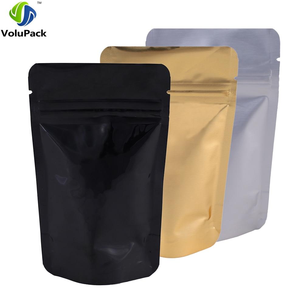 أكياس ألومنيوم شفافة ، 100 قطعة ، أكياس تخزين بسحاب ، متوفرة بأحجام مختلفة ، فضية ، سوداء وذهبية