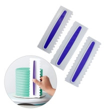 3pcs pastry baking cake Spatulas,Kitchen Creative cooking fondant Scraper Icing Comb Set baking tool