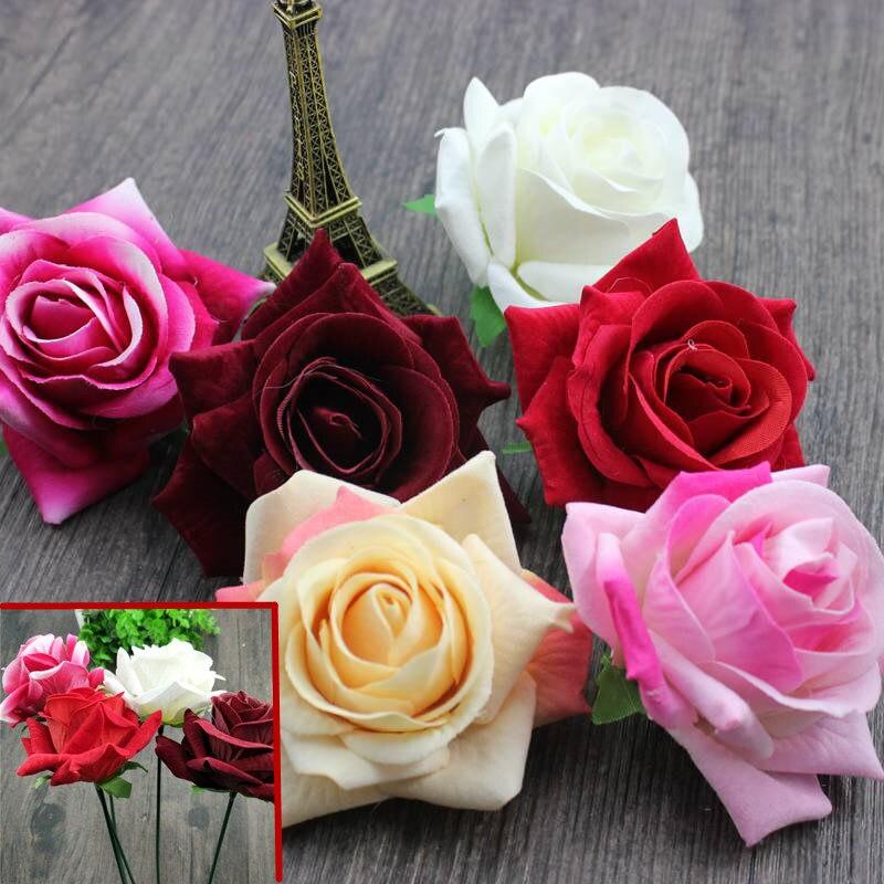 1 unidad romántica flor de Rosa artificial DIY Flor de seda de terciopelo para fiesta hogar boda decoración del Día de San Valentín vacaciones