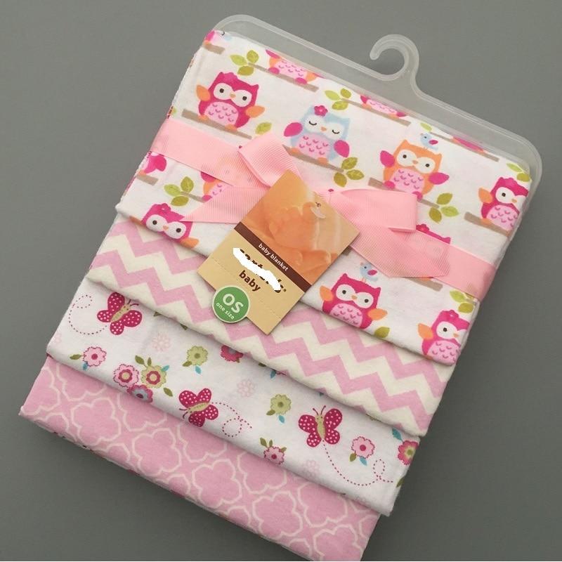4pcs/set newborn swaddle baby bed sheet girls owl bedding set 76x76cm for newborn crib sheets 100% cotton flannel blanket