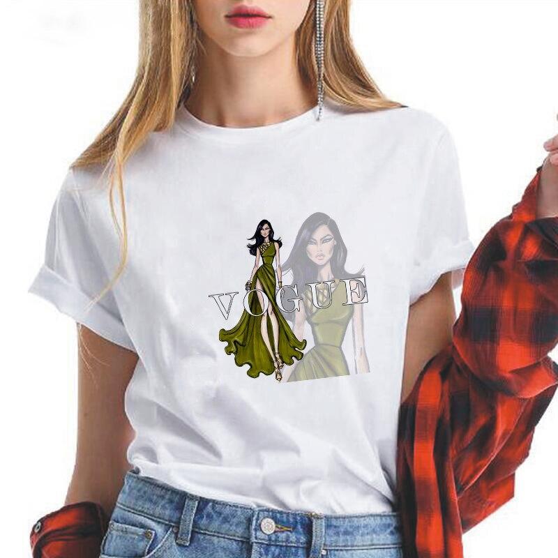 LUSLOS, doble imagen, camiseta Vogue con estampado de belleza para mujer, camiseta informal de manga corta de verano con cuello redondo, camisetas de moda para mujer