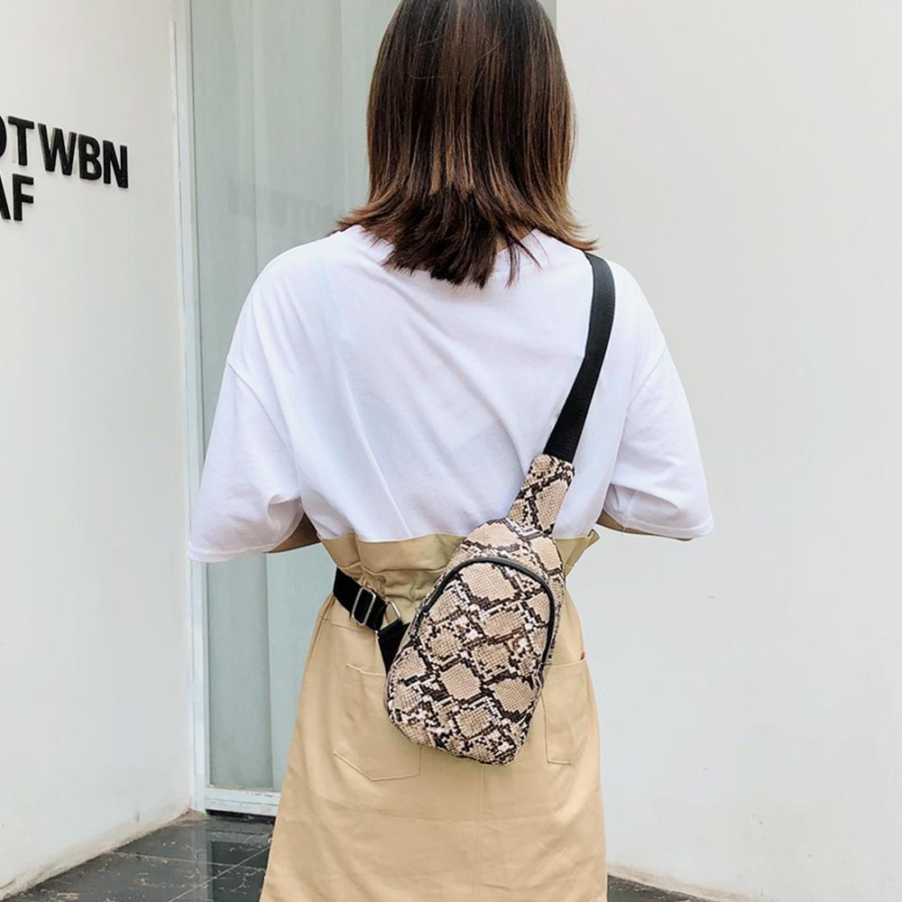 Women Snake Pattern Chain Shoulder Waist Bag Fanny Belt Packs Phone Pouch Leather Waist Chest Pack Casual Shoulder Crossbody Bag