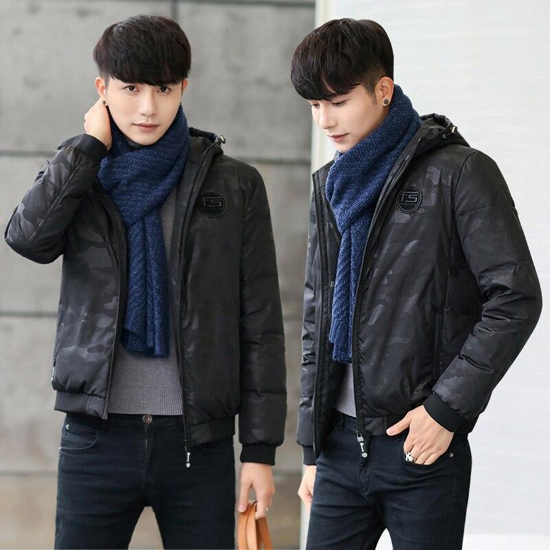 Зимние теплые мужские пуховики с капюшоном, повседневные пуховики и куртки на утином пуху, короткая верхняя одежда, мужские повседневные ка...