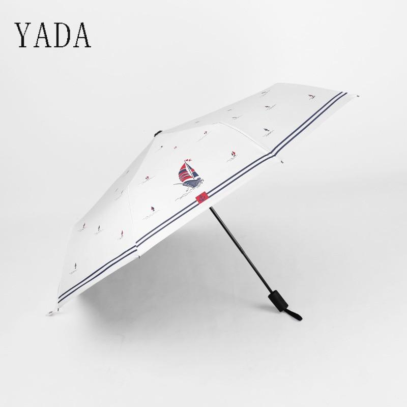 Umbrella para Mulheres Vela à Prova de Vento Padrão de Chuvas Yada Criativo Veleiro Tarja Guarda-chuva uv Ensolarado Chuva Folding Designer Ys681 &