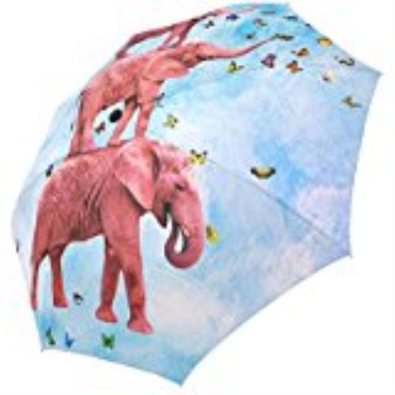 Elephant Butterfly Foldable Umbrella  Anti Rain Umbrella 3 Folding Parasol Sun Protection Anti-UV Umbrella for Women