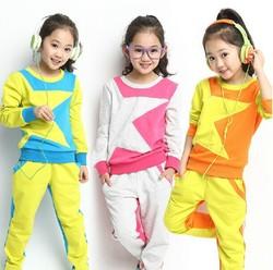 2014 new long-sleeved terno meninas outono conjuntos XYZ15171 pentagrama multicolor terno pedaço grande criança virgem