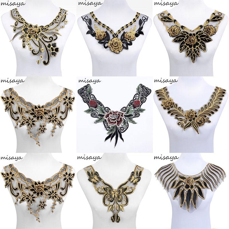 Misaya 1pc 9 style Organza 3D Flower Lace Neckline Fabric,DIY Manual Collar Wedding Decoration Lace Fabrics Sewing Collar Crafts