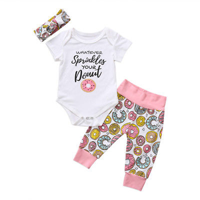 3pcs Baby Set 2017 Casual Fashion Newborn Kid Baby Girl Floral Clothes Jumpsuit Short Sleeve Romper