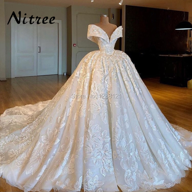 Vestido de novia musulmán árabe, vestidos de novia turcos, encaje de Dubai, vestido de novia Formal con hombros descubiertos, Kaftan Glitter marroquí africano
