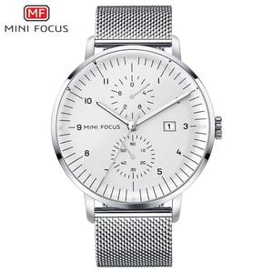 MINI FOCUS Mens watches silver watches men 2020 Luxury brand waterproof mesh steel business quartz wristwatch relogio masculino
